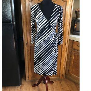 Roz & Ali Striped Wrap Dress Size 10